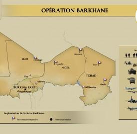 Carte des implantations de Barkhane - Armée française