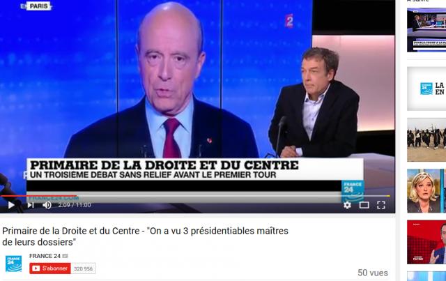 JP Moinet était l'invité de France 24 aussi pour commenter le 1er tour de la primaire de la droite et du centre