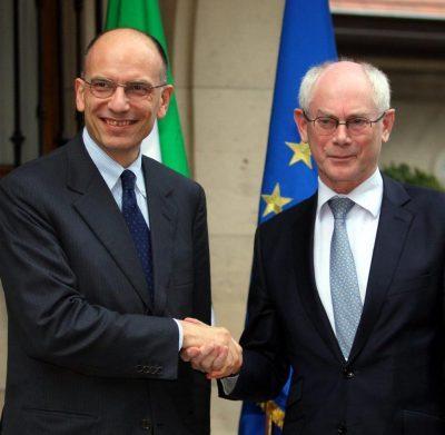 Enrico Letta, Président de l'Institut Jacques Delors, Herman Van Rompuy, Président émérite du Conseil européen et Président du European Policy Center